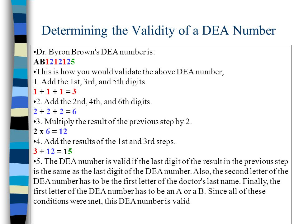 Determining the Validity of a DEA Number