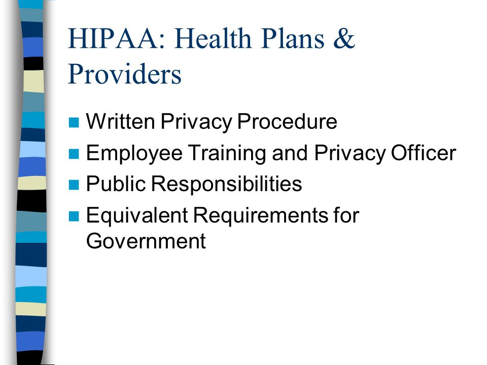 HIPAA: Health Plans & Providers