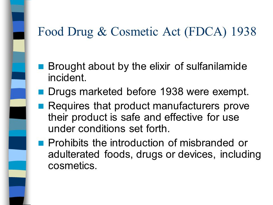Food Drug & Cosmetic Act (FDCA) 1938