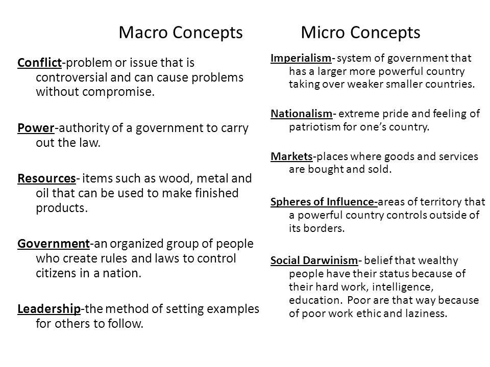 Macro Concepts Micro Concepts