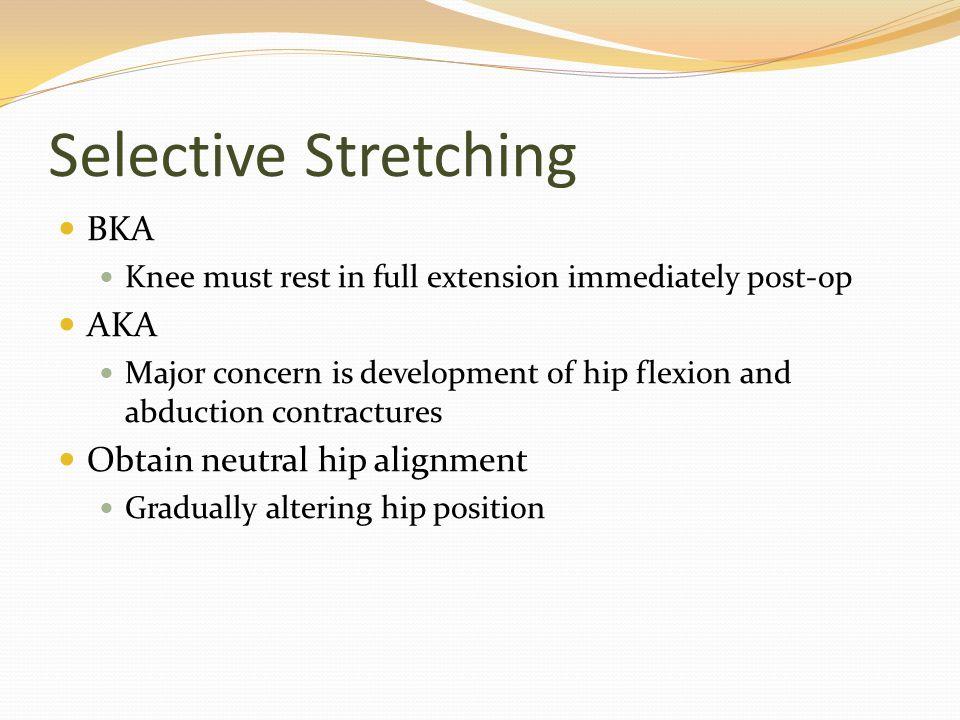 Selective Stretching BKA AKA Obtain neutral hip alignment