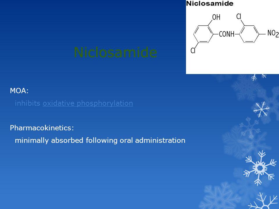 Niclosamide MOA: inhibits oxidative phosphorylation Pharmacokinetics: