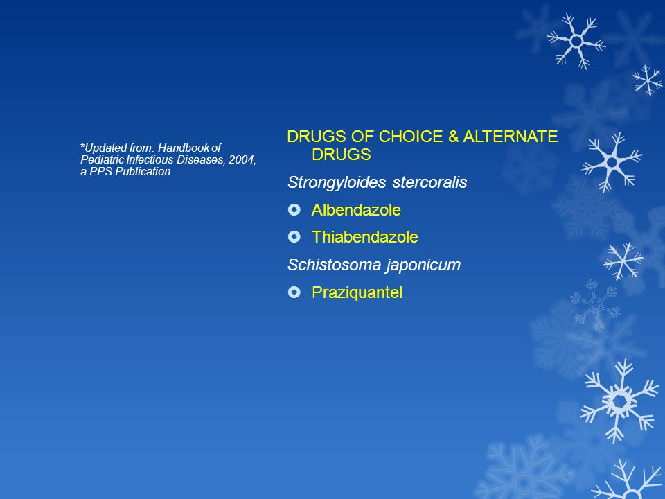 DRUGS OF CHOICE & ALTERNATE DRUGS Strongyloides stercoralis