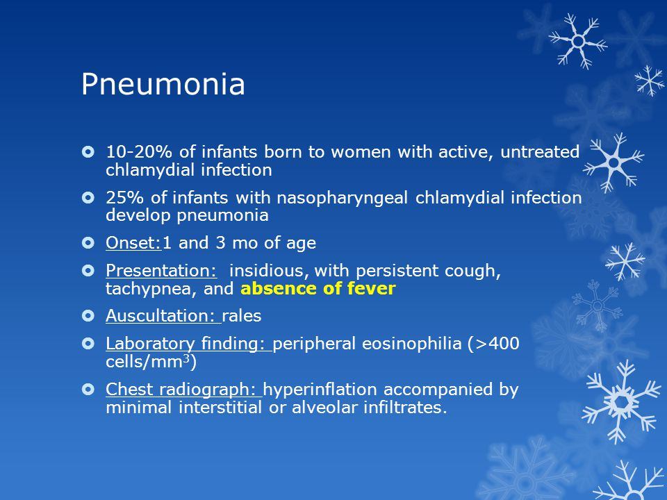 Pneumonia 10-20% of infants born to women with active, untreated chlamydial infection.