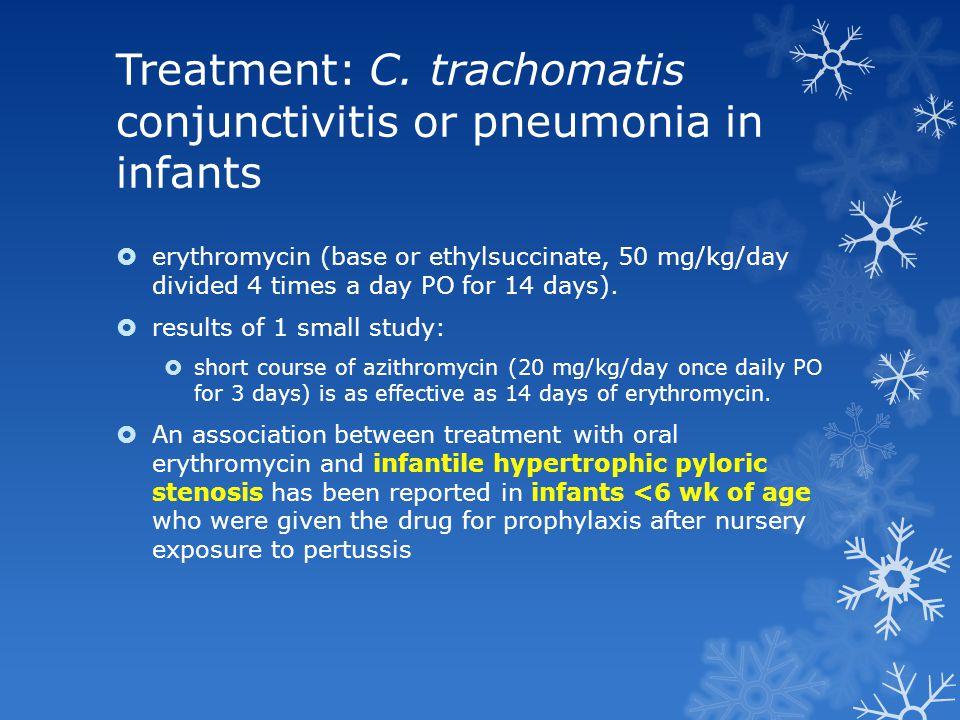 Treatment: C. trachomatis conjunctivitis or pneumonia in infants