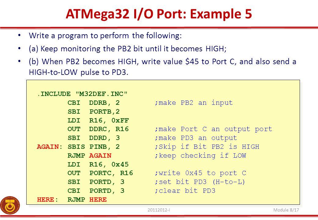 ATMega32 I/O Port: Example 5