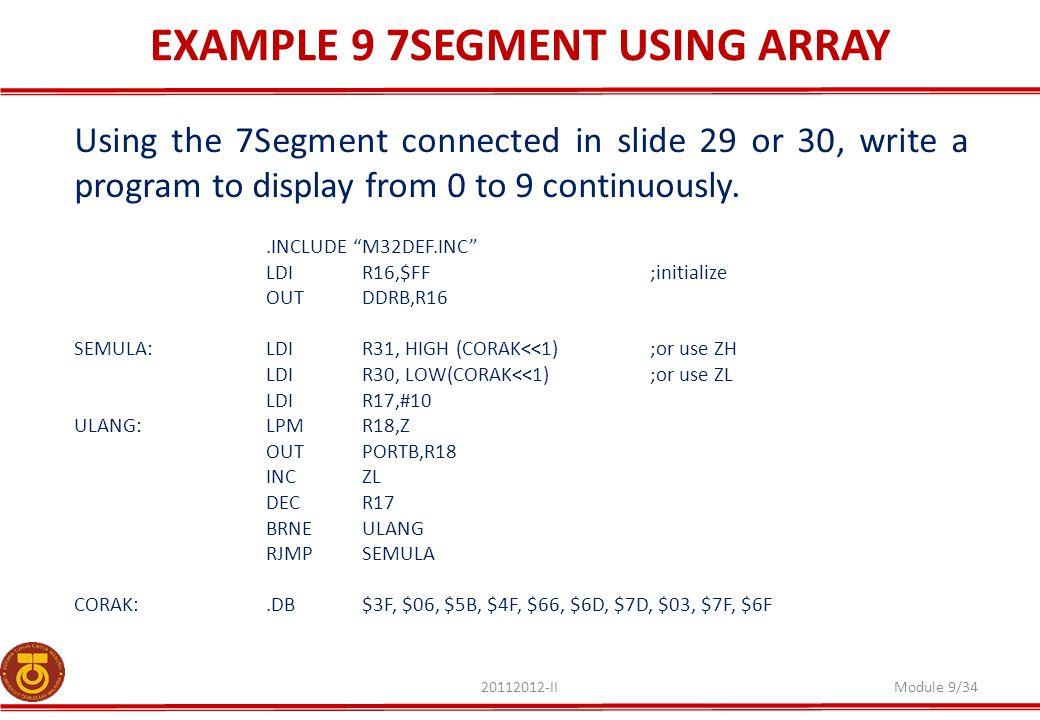 EXAMPLE 9 7SEGMENT USING ARRAY