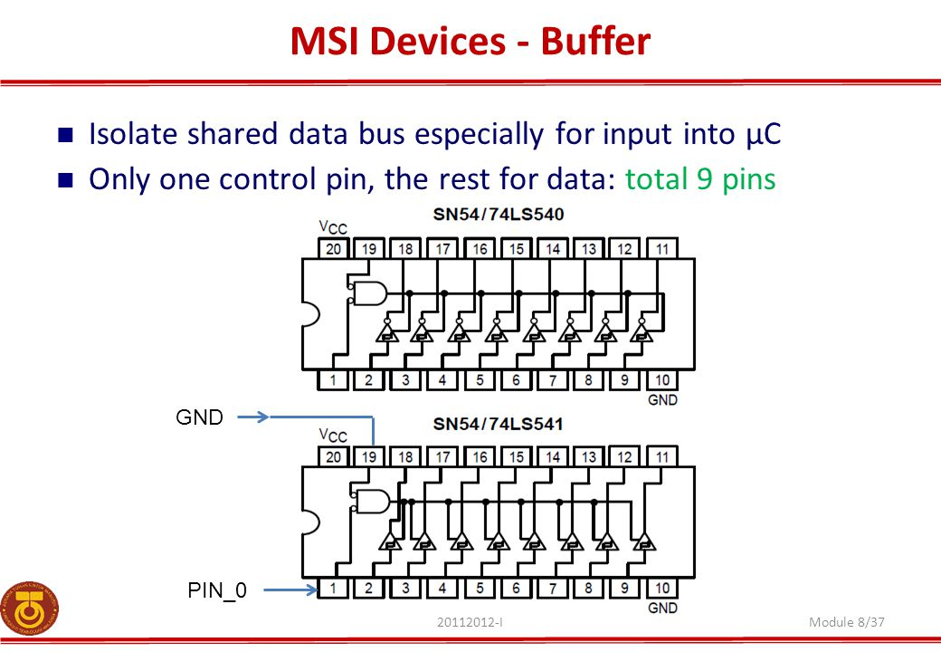 MSI Devices - Buffer Isolate shared data bus especially for input into µC. Only one control pin, the rest for data: total 9 pins.