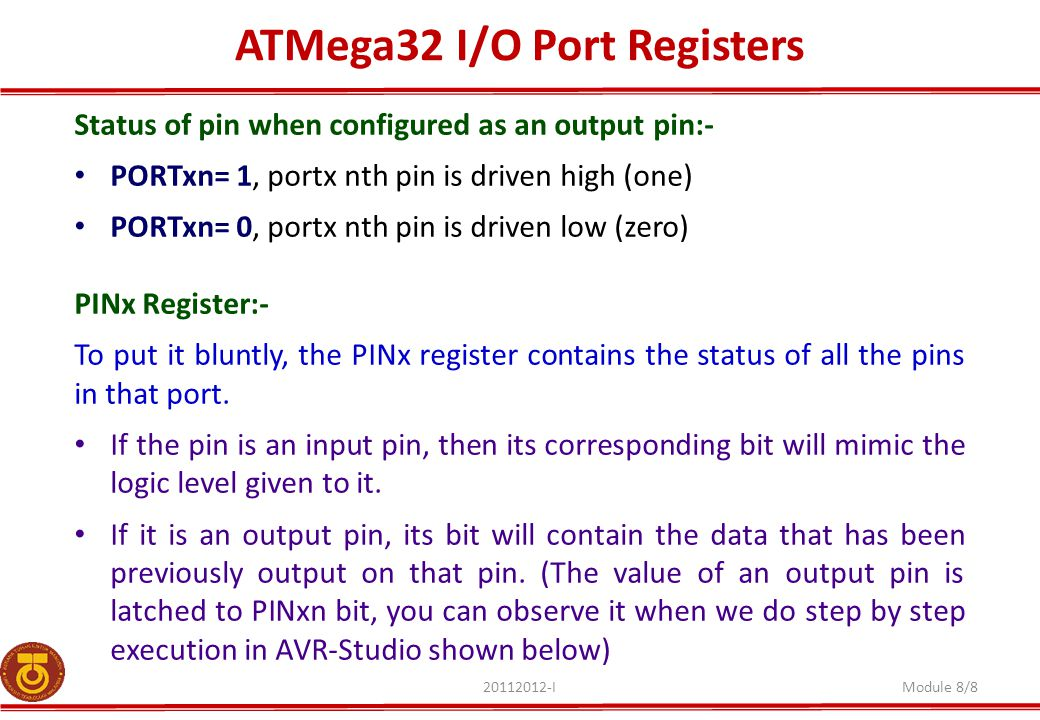 ATMega32 I/O Port Registers