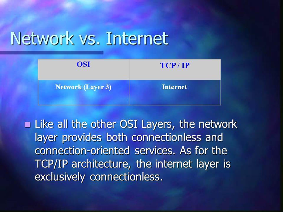 Network vs. Internet OSI. TCP / IP. Network (Layer 3) Internet.