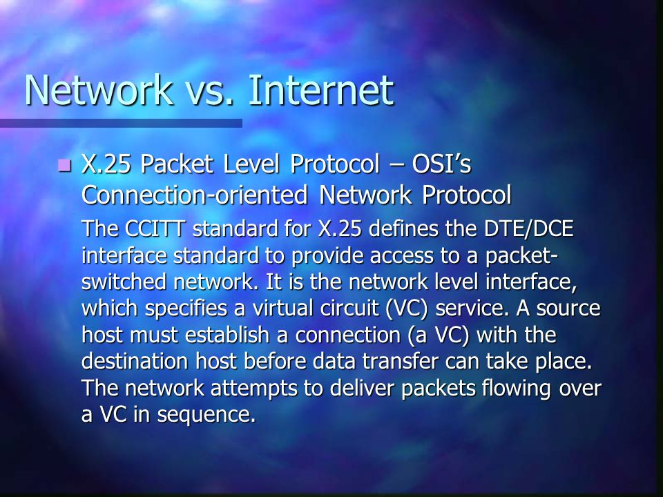 Network vs. Internet X.25 Packet Level Protocol – OSI's Connection-oriented Network Protocol.
