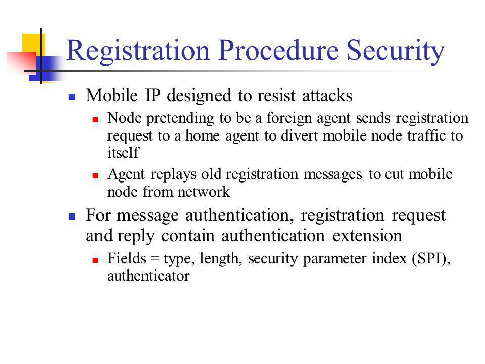 Registration Procedure Security