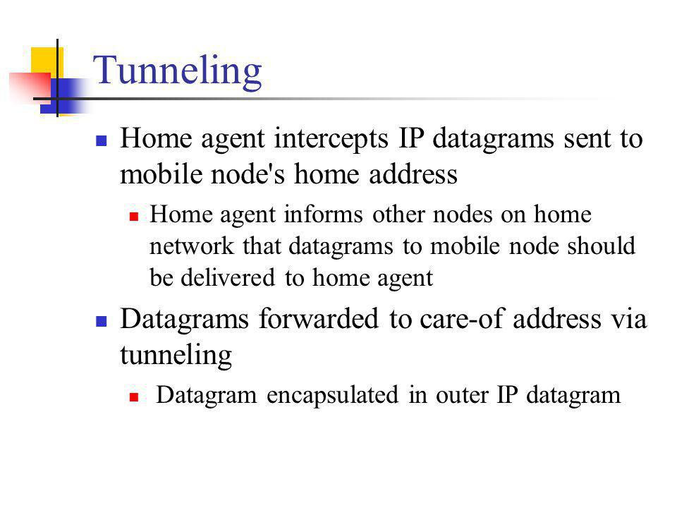 Tunneling Home agent intercepts IP datagrams sent to mobile node s home address.