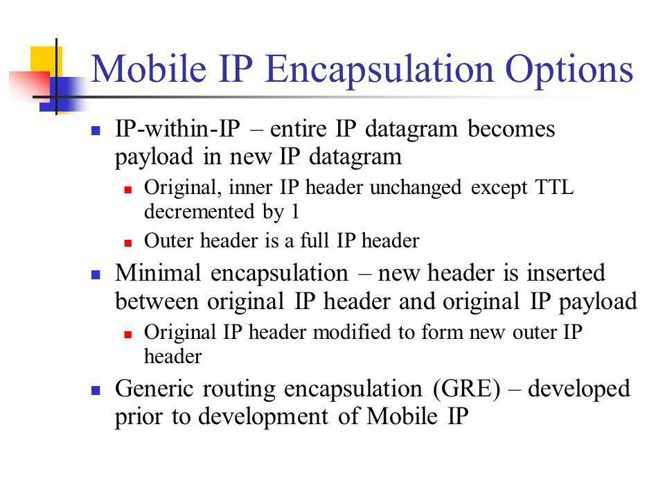 Mobile IP Encapsulation Options