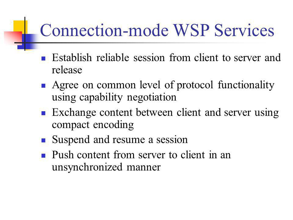Connection-mode WSP Services