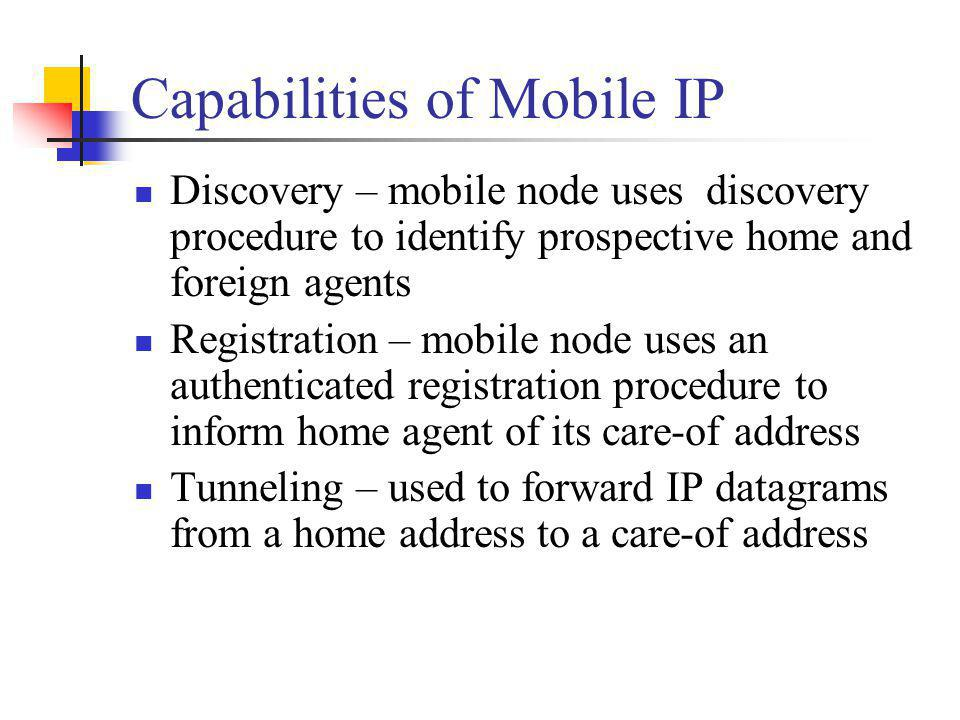 Capabilities of Mobile IP