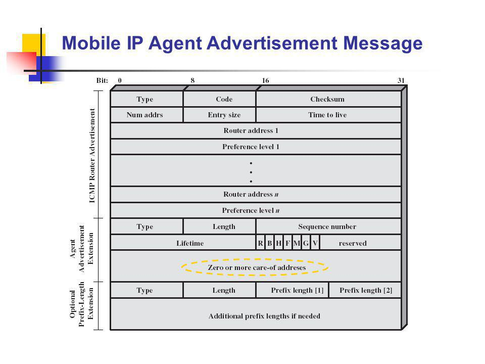 Mobile IP Agent Advertisement Message