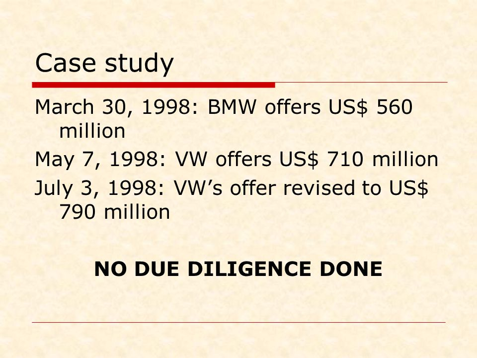Case study March 30, 1998: BMW offers US$ 560 million