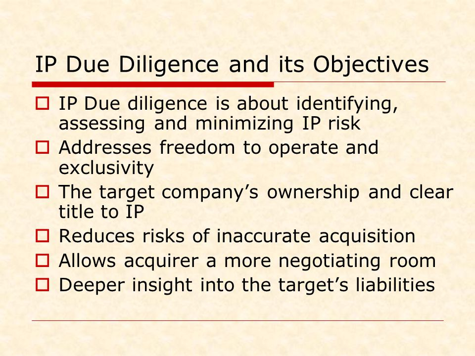 IP Due Diligence and its Objectives