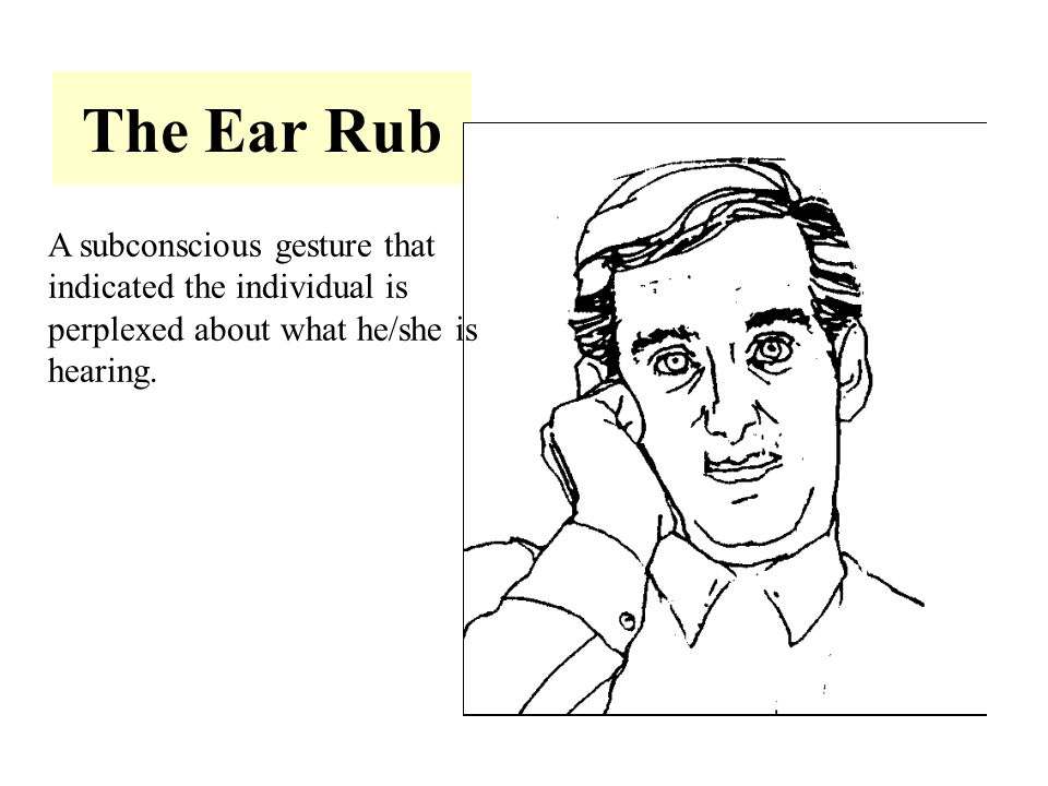 The Ear Rub A subconscious gesture that indicated the individual is perplexed about what he/she is hearing.