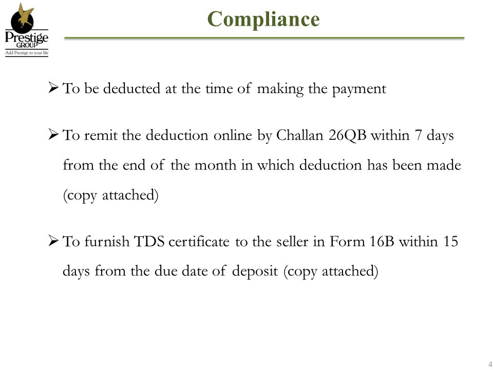 Compliance To be deducted at the time of making the payment