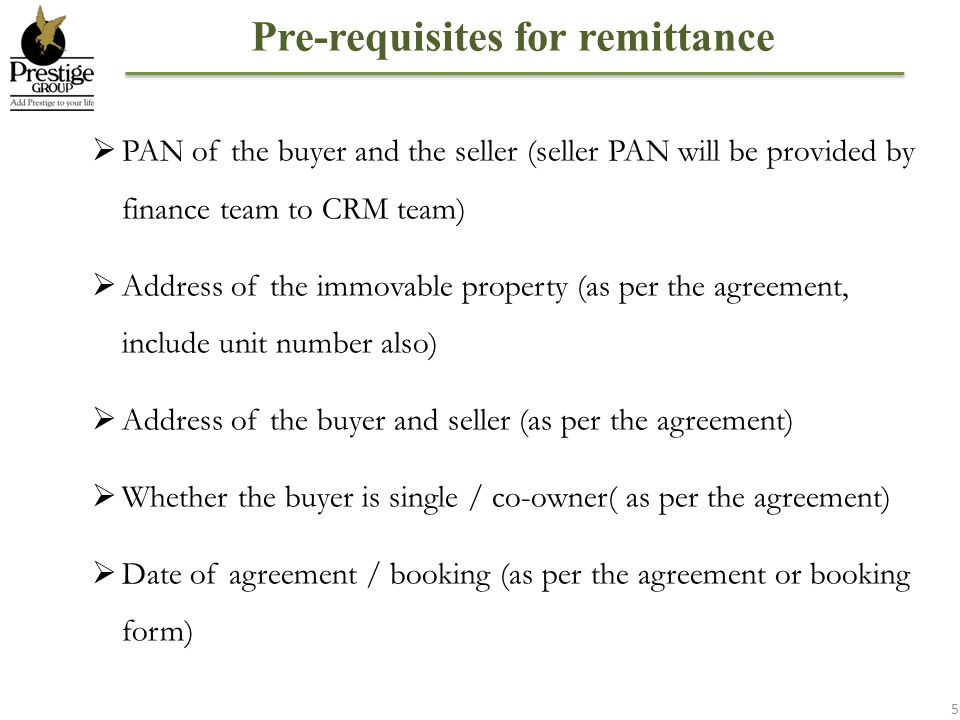 Pre-requisites for remittance