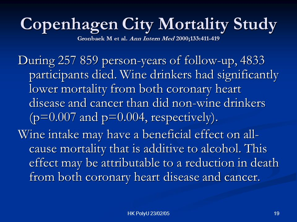 Copenhagen City Mortality Study Gronbaek M et al