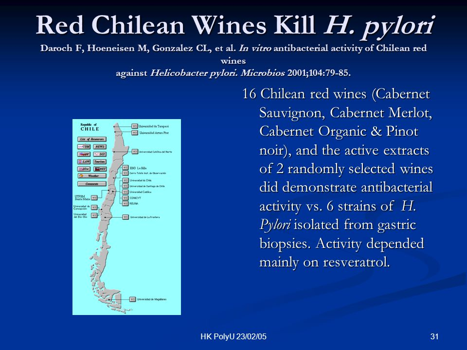 Red Chilean Wines Kill H