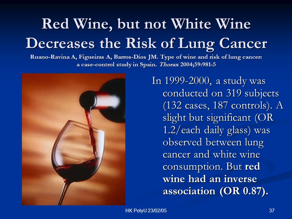 Red Wine, but not White Wine Decreases the Risk of Lung Cancer Ruano-Ravina A, Figueiras A, Barros-Dios JM. Type of wine and risk of lung cancer: a case-control study in Spain. Thorax 2004;59:981-5