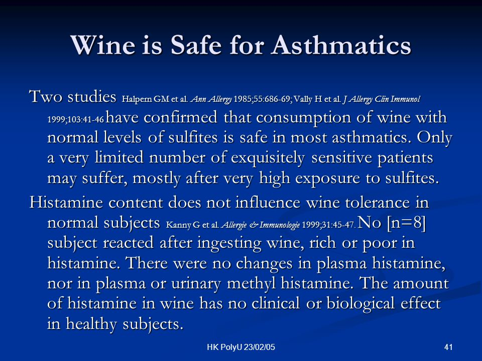 Wine is Safe for Asthmatics