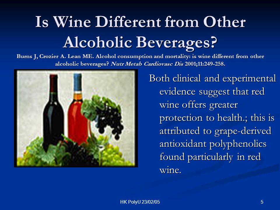 Is Wine Different from Other Alcoholic Beverages. Burns J, Crozier A