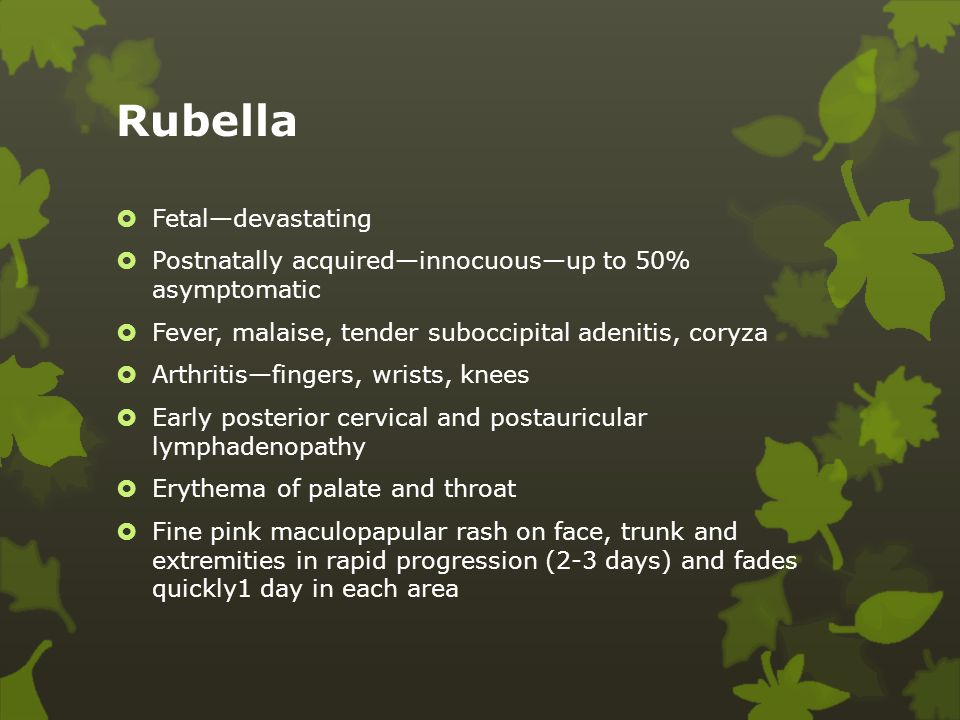 Rubella Fetal—devastating