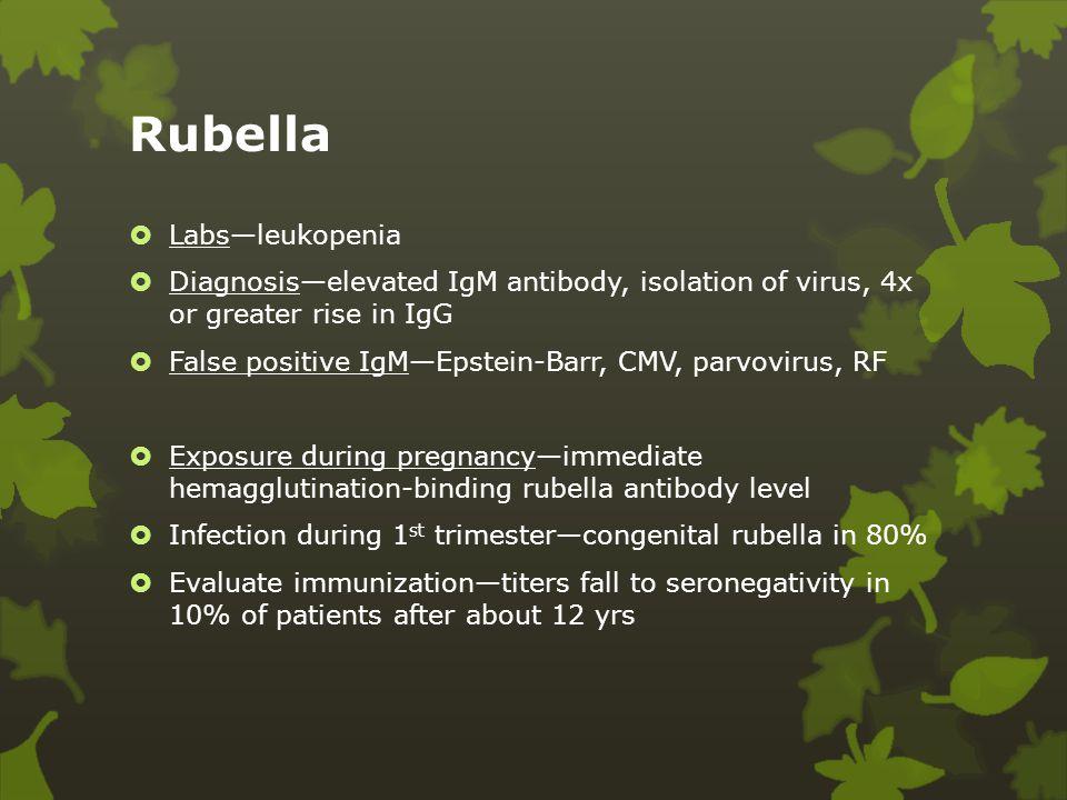 Rubella Labs—leukopenia