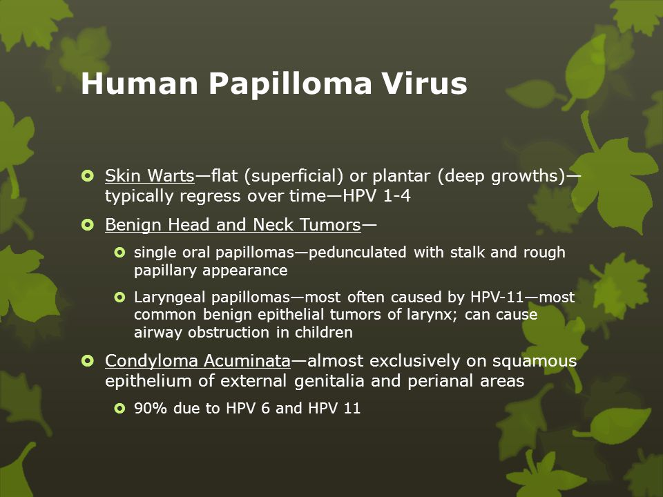 Human Papilloma Virus Skin Warts—flat (superficial) or plantar (deep growths)— typically regress over time—HPV 1-4.