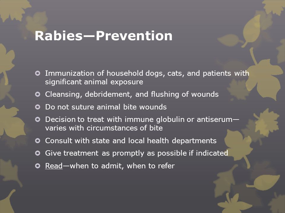 Rabies—Prevention Immunization of household dogs, cats, and patients with significant animal exposure.