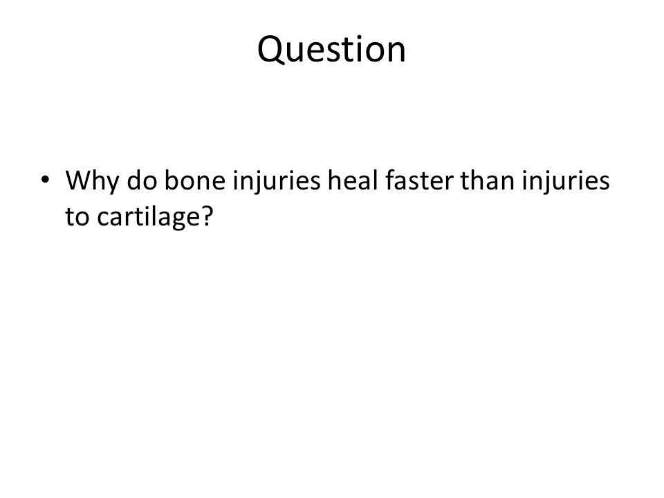 Question Why do bone injuries heal faster than injuries to cartilage