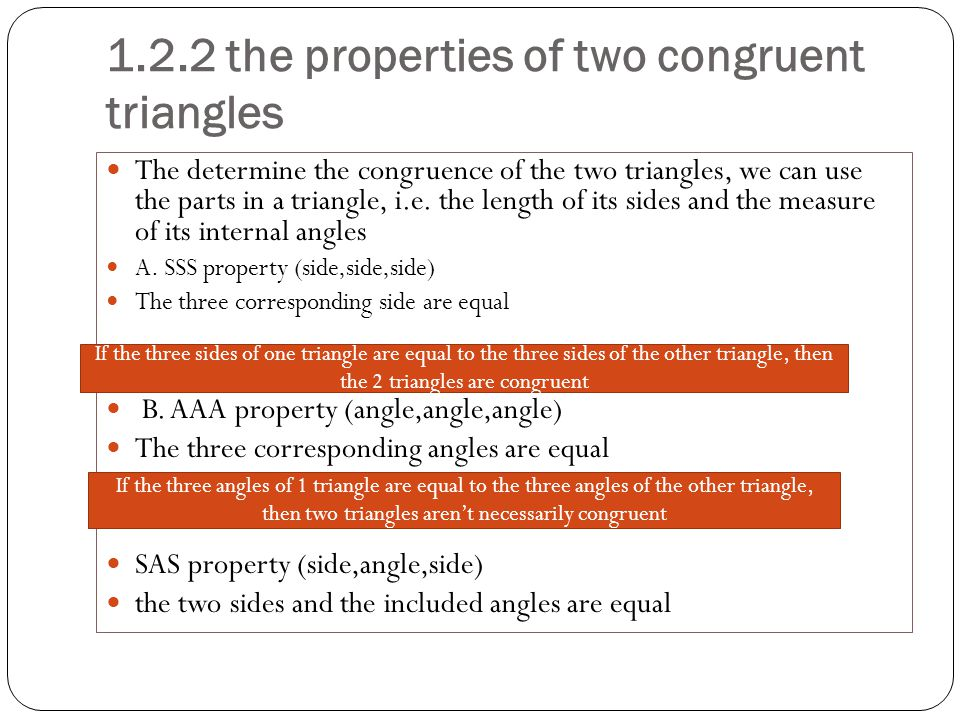 1.2.2 the properties of two congruent triangles