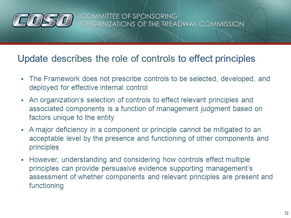 Update describes how various controls effect principles, e.g.,