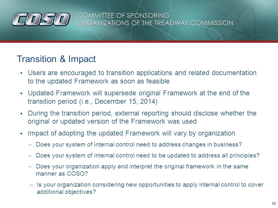 Transition & Impact (continued)