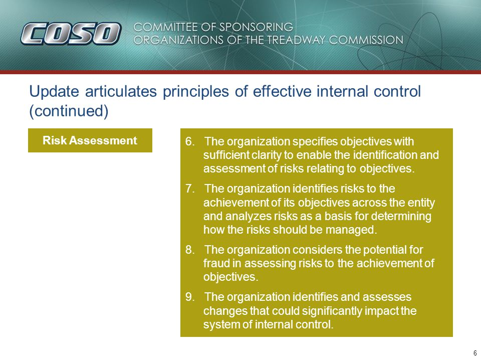 Update articulates principles of effective internal control (continued)