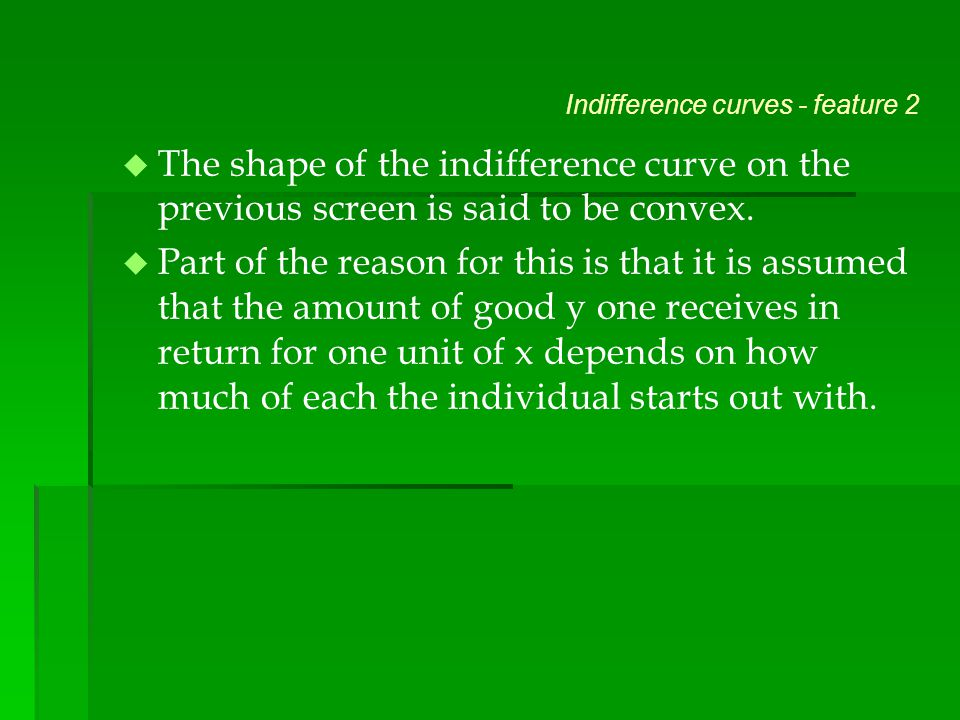 Indifference curves - feature 2