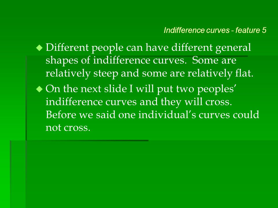 Indifference curves - feature 5