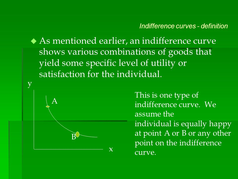 Indifference curves - definition