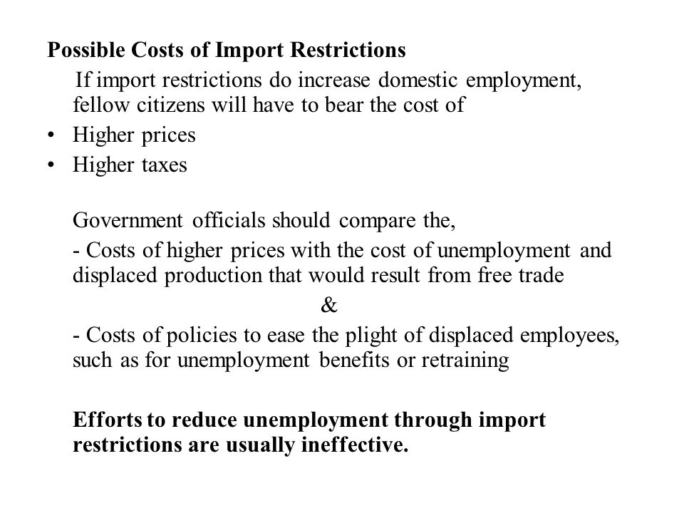 Possible Costs of Import Restrictions