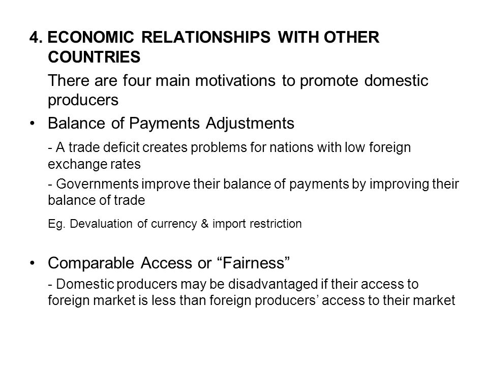 4. ECONOMIC RELATIONSHIPS WITH OTHER COUNTRIES