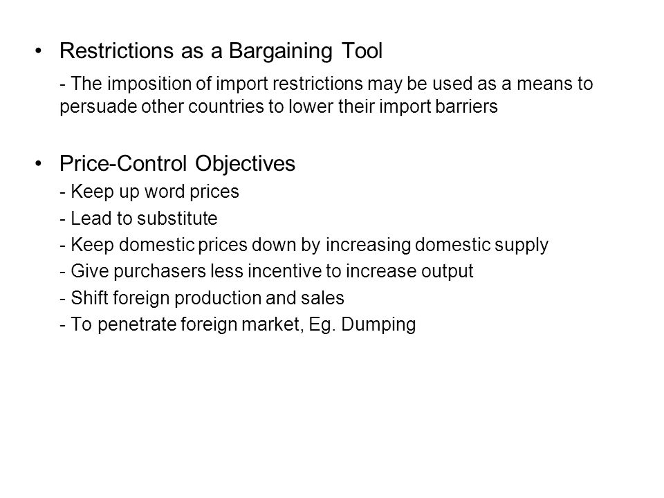 Restrictions as a Bargaining Tool