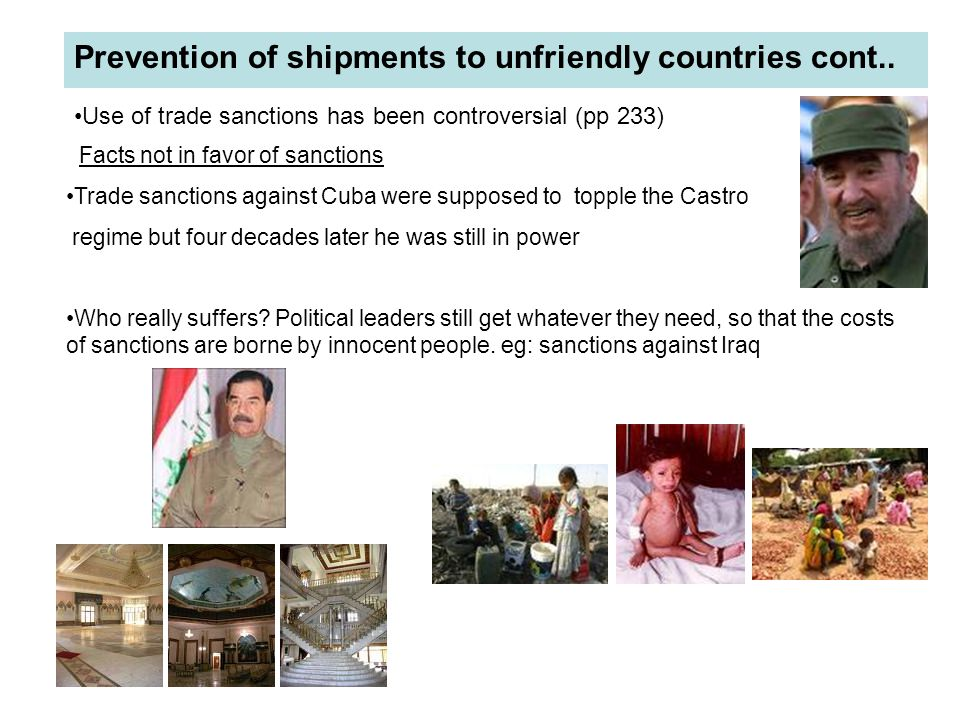 Prevention of shipments to unfriendly countries cont..