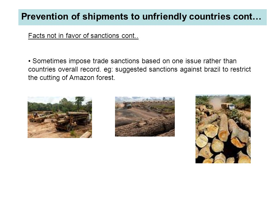 Prevention of shipments to unfriendly countries cont…