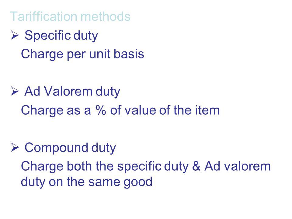 Tariffication methods