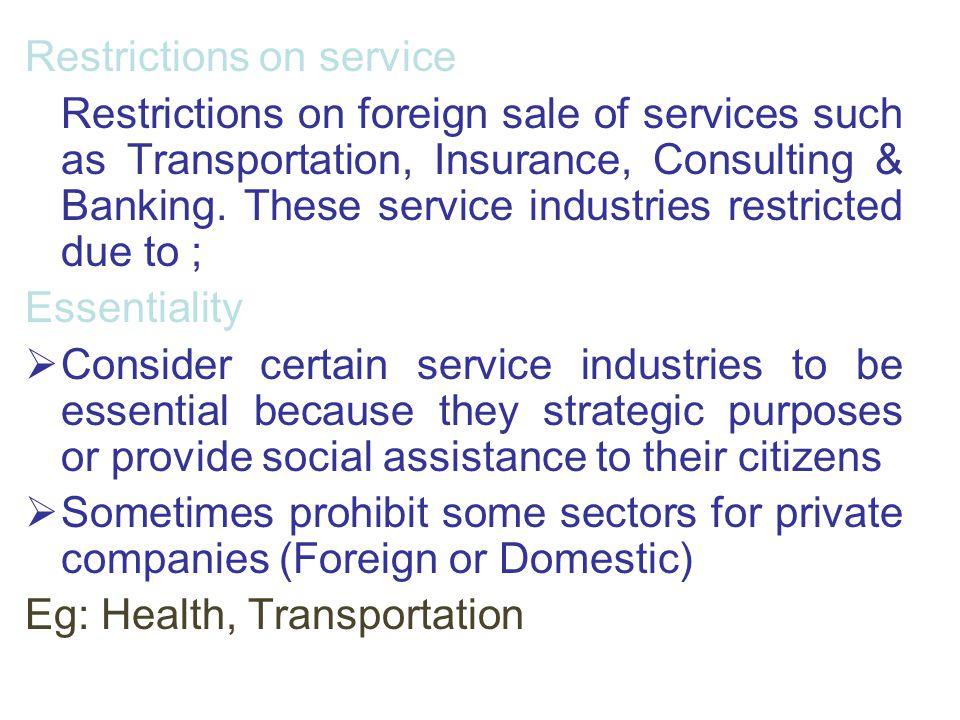 Restrictions on service